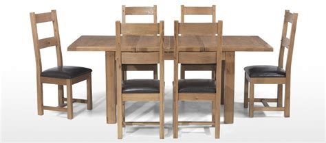 rustic oak 132 198 cm extending dining table and 6 chairs