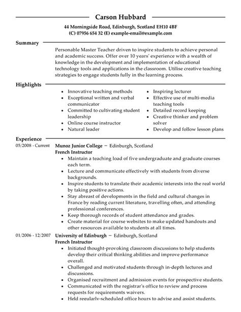 Masters Resume Format by Master Resume Exles Education Resume Sles Livecareer