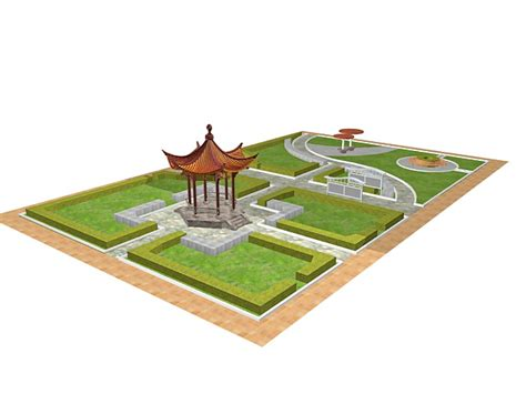 garden models formal chinese garden design 3d model 3ds max files free download modeling 33048 on cadnav