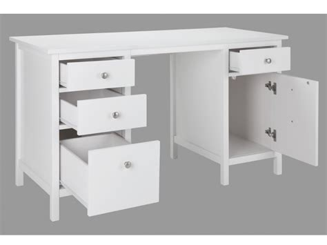 tiroir de bureau bureau albane 4 tiroirs 1 porte pin massif blanc