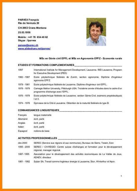 Exemple De Curriculum Vitae 2015 by Curriculum Vitae Exemple Suisse