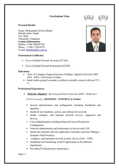Ccnp Resume For Freshers by Ccnp Resume Format Resume Format