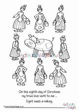 Milking Maids Eight Colouring Coloring Activity Village Log Twelve Explore Template Activityvillage sketch template