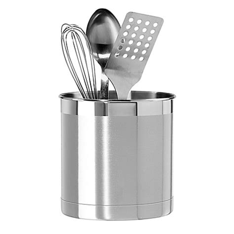 kitchen utensil holder oggi stainless steel jumbo utensil holder bed bath beyond