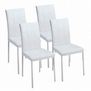Dona lot de 4 chaises de salle a manger blanches achat for Chaises de salle à manger pas cher