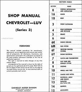 1974 Series 3 Chevy Luv Repair Shop Manual Original