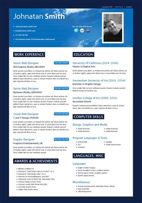 Modern Cv Format by Cielo Cv Cielo Cv Is A Modern Web2 0 Styled Html Cv