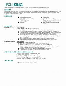best yoga instructor resume example livecareer With instructor resume