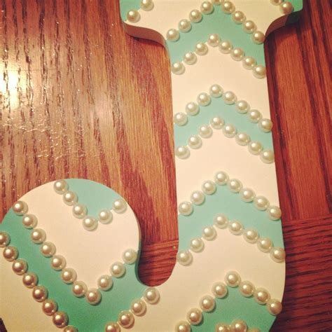 wooden letter painters tape aqua paint  pearls