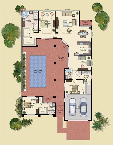 marvelous spanish courtyard house plans  house floor plans  courtyards pool house