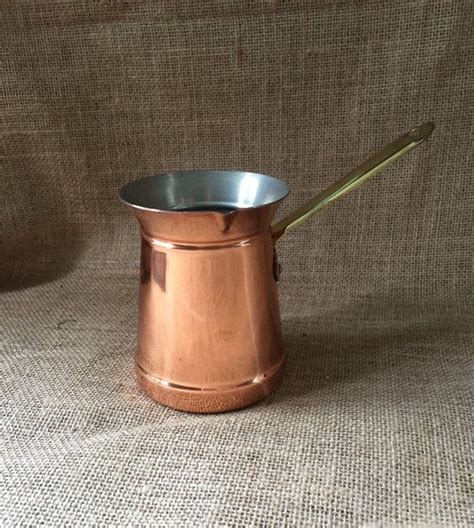 copper butter warmer turkish coffee pot small copper pot  brass handle portugal taurus