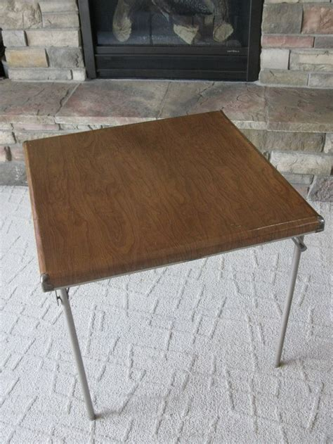 shabby chic folding table reserved samsonite card table fiberboard 1950s folding table metal legs faux wood