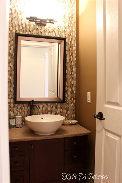 Bathroom Powder Room With Full Height Mosaic Tile