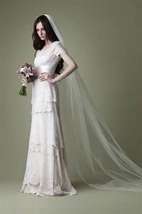 1910s edwardian style cream tiered lace wedding dress With edwardian style wedding dresses