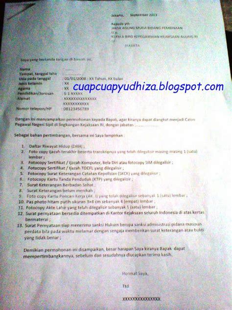 Contoh Surat Lamaran Di Kejaksaan by Cuapcuapyudhiza Surat Lamaran Cpns Kejaksaan 2013
