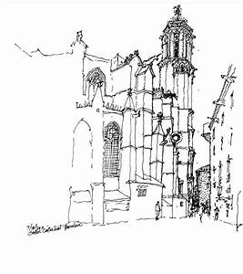 Simple gothic architecture drawing