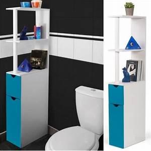 Meuble WC étagère bois gain de place pour toilette porte bleue Achat / Vente colonne armoire