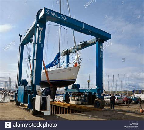 Boat Crane by A Yacht Being Lifted Out Of The Water By A Wise 70 Ton