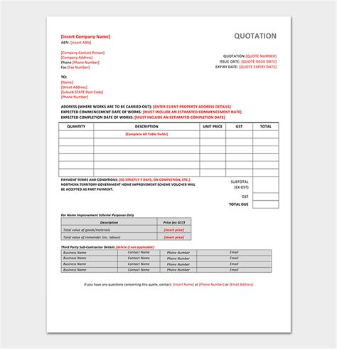 formal quotation template   word excel  format
