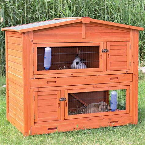 a rabbit hutch trixie natura two story peaked roof rabbit hutch petco
