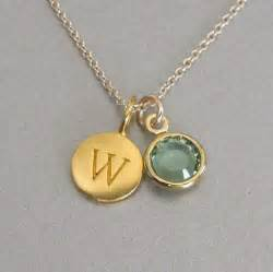 personalized birthstone ring gold initial birthstone charm necklace by