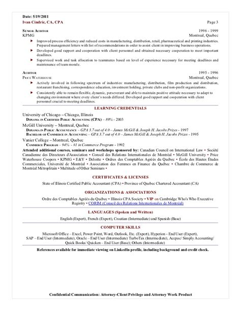 Cpa Candidate On Resume by Chicago Cpa Resume