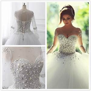 long sleeve wedding dresses 2016 bridal gowns with lace up With wedding dresses with bling and lace