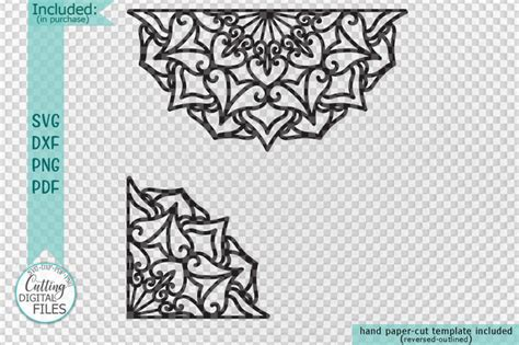 mandala set corner  border plotter cut svg dxf