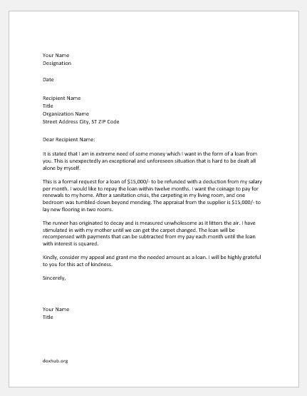loan application request letters  boss document hub