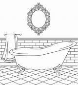 Coloring Bathtub Clipart Bathroom Pages Colouring Bird Stamps Digital Printable Bathrooms Houses Drawing Clip Templates Paper Cardboard Dolls Birdscards Webstockreview sketch template