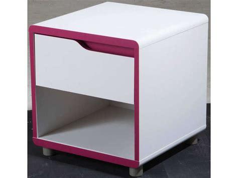 chambre moby chevet 1 tiroir 1 niche moby coloris blanc fushia vente