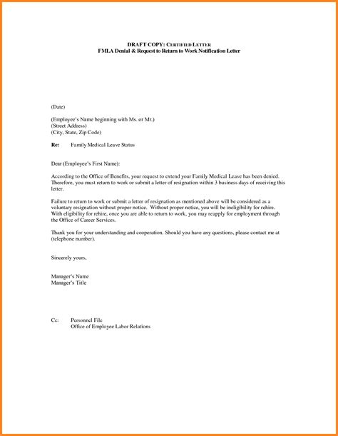 return to work letter return to work letter from employer the letter sle