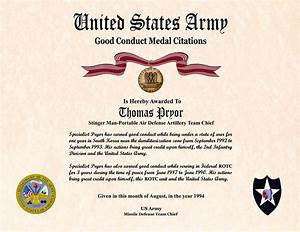 army good conduct medal certificate template individual With army good conduct medal certificate template