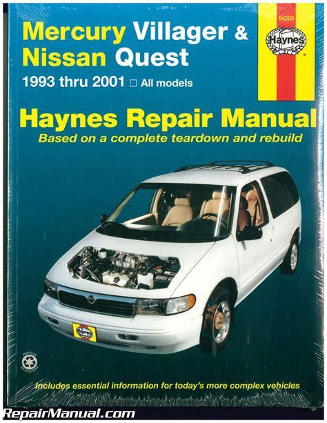 car repair manuals online pdf 1990 mercury grand marquis engine control haynes mercury villager nissan quest 1993 2001 auto repair manual