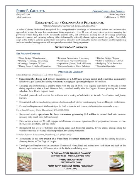 executive chef resume format executive chef resume