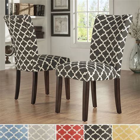 inspire  catherine moroccan pattern fabric parsons dining