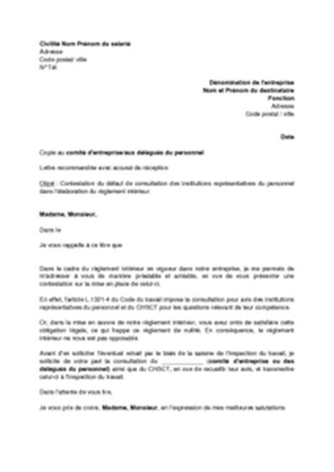 modele reglement interieur chsct exemple gratuit de lettre contestation aupr 232 s employeur absence consultation dans 233 laboration