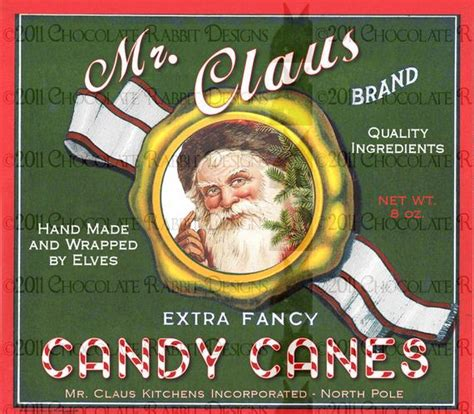 christmas candy cane vintage style label tag digital