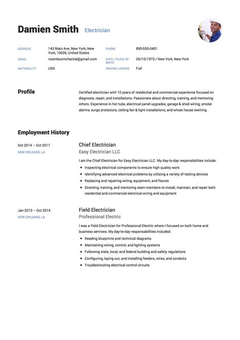 Electrician Resume Templates by 12x Free Electrician Resume Template