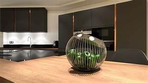 Cuisine gris anthracite bois et cuivre avec ilot design for Idee deco cuisine avec facade cuisine gris anthracite