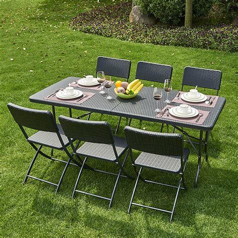 chambre pour auvent table pliante pvc tressé 6 chaises coloris noir