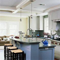 painted cabinets kitchen a single level island gives clear sight to the 1377