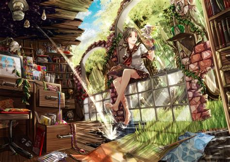 Anime Girls Barefoot Brown Happy Mess Nature Original
