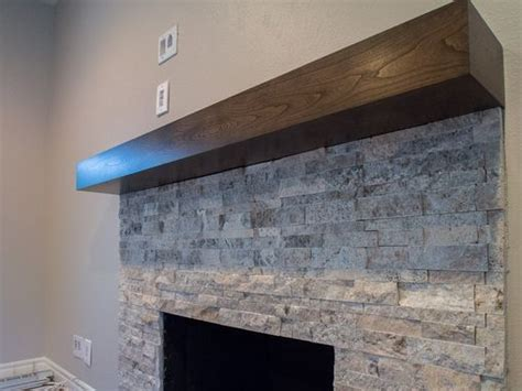 handmade cherry modern beam fireplace mantel  custom