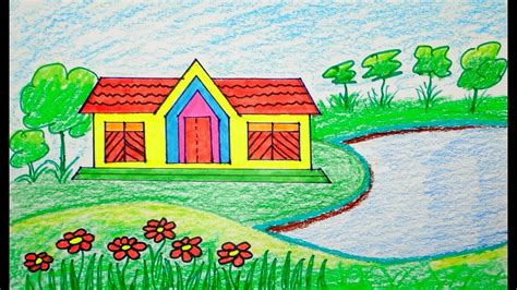 draw scenery scenery  house draw  beginners