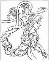 Coloring Tangled Rapunzel Hair Flowers Pages Children Disney Characters Films Animated sketch template