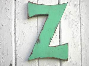 wooden letter sign z 12 inch green distressed rustic shabby With wooden letter z
