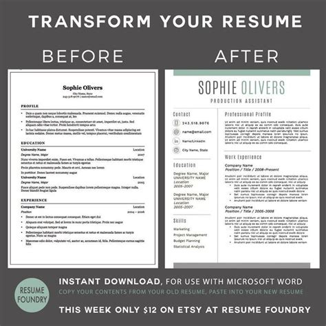 Stylish Resume Templates Word by 17 Best Images About Resume Templates Etsy On