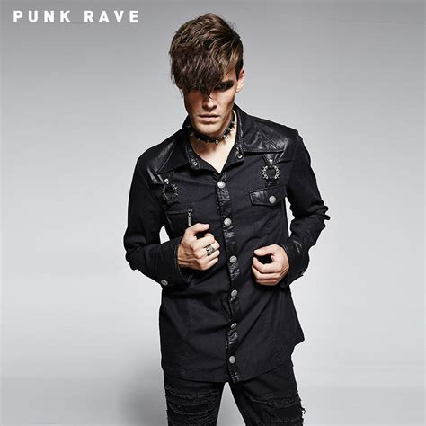 Aliexpress.com  Buy Punk Style Gothic Men Shirt Casual Fashion Black from Reliable shirt men ...