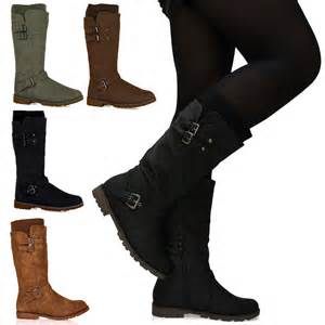 womens boots mid calf flat d6z womens sock fashion buckle biker trendy flat mid calf boots shoes ebay
